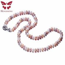HENGSHENG Mix Color Women Pearl Jewelry Necklace,925 Sterling Silver Necklace,8-9mm Beads Jewelry,60cm Length,White/Pink/Purple(China)