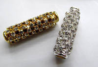 Top Quality 12pcs Micro Pave Crystal CZ Sideway Tube Jewelry Connector Column Pave Bar Jewelry Spacer 10X35mm