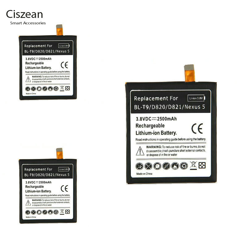 Ciszean 3x 2500mAh Replacement Battery For LG Google Nexus