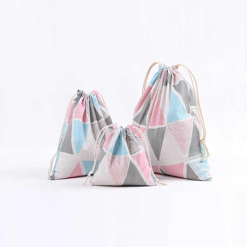 YILE Cotton Fabric Drawstring Gift Bag Cosmetic Pouch Multi-purpose Bag Pink Blue Grey Triangle N406