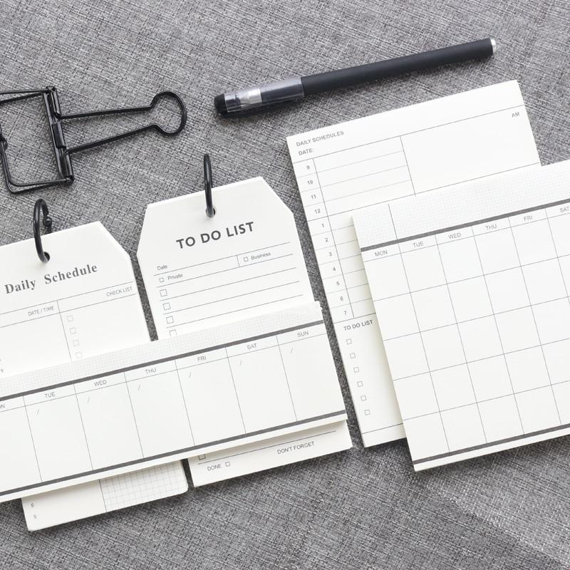 Loose-leaf Domikee clássico portátil tempo planejador agenda notas pad check list para fazer a lista semanal planejador diário memo pad papelaria