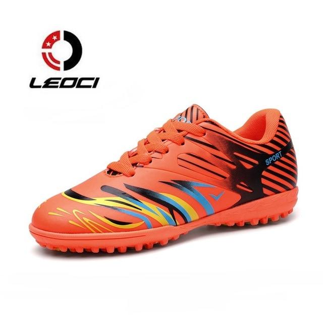 LEOCI Superfly Chuteiras Turf Futebol Botas Dos Homens Do Esporte Ao Ar  Livre Longo Picos Sapatos 439d89bc0bf66