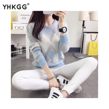 2016 new female pullovers yhkgg winter warm spring autumn fashion women sweater long sleeved grid casual