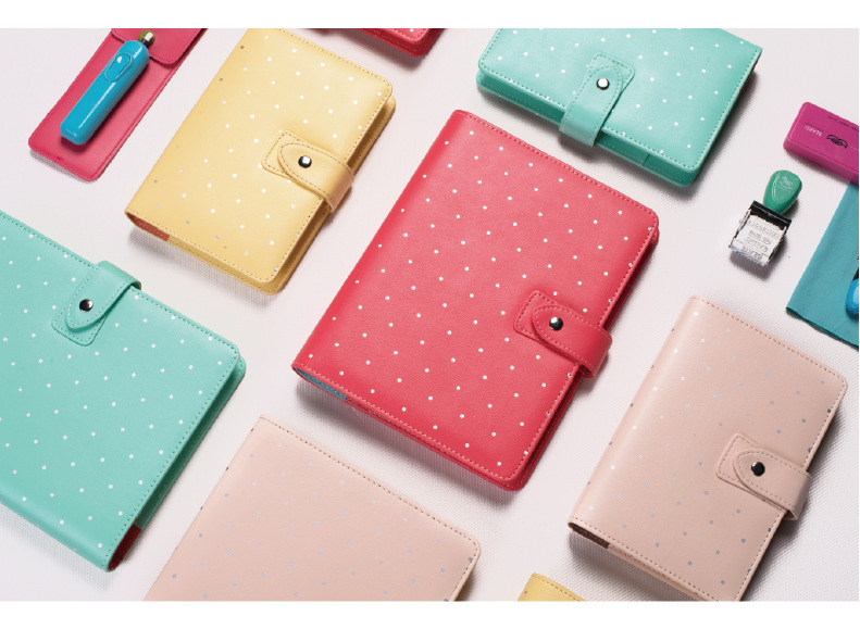 A5 A6 Polka Dot Spiral Notebook Multi-function Macaron Candy Sweet Color Personal Filofax Agenda Wave Point Planner Organizer a6 uk style multi function zip fauxleather spiral filofax notebook portable agenda planner organizer lock code