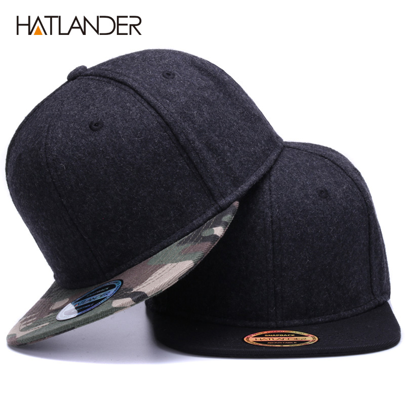HATLANDER High Quality Wool Snapback Caps Plain Camouflage Baseball Cap And Hat Men Women Winter Hat Flat Brim Blank Hip Hop Cap