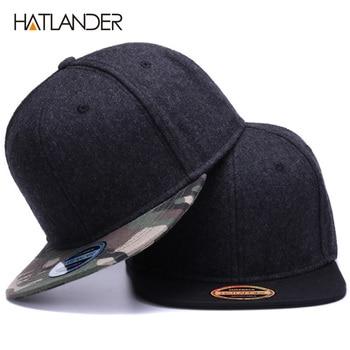 HATLANDER High quality Wool snapback caps plain camouflage baseball cap and hat men women winter hat flat brim blank hip hop cap
