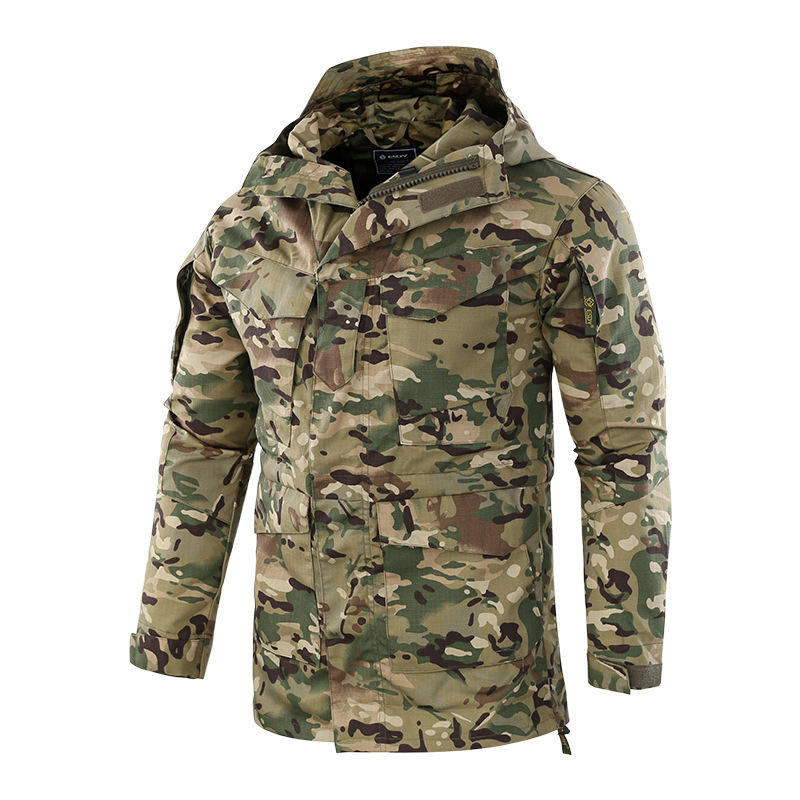 Dynamic Mens Winter Outdoor Riding Windproof Warm Waterproof Tactical Jacket Hiking Camping Training Climbing Soft Shell Hooded M65 Coat Camping & Hiking