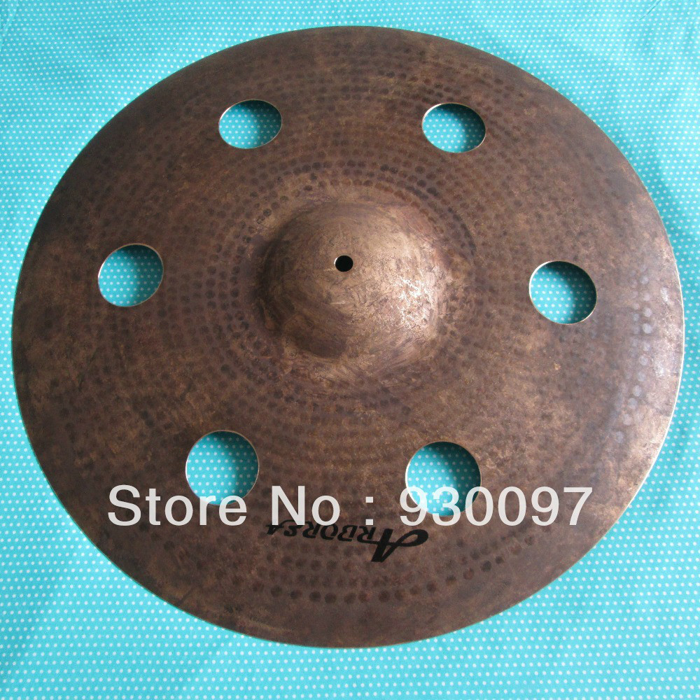 best selling hole cymbal, 100% handmade effect cymbal, professional B20 cymbal new design sprial cymbal 14cymbal