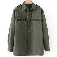 QPFJQD European Streetwear Studded Army Green Woman Tassel Shirt Loose Pockets Rivet Long Sleeve Blouse BF