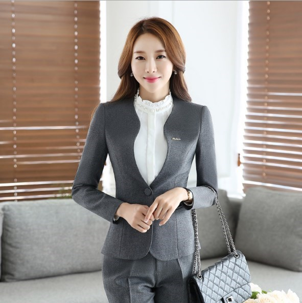 Women Pants Suits Slim Work Wear Office Outfits Ladies Long Sleeve Blazer Pants Set Costumes For Women Trouser Suit Black Gray