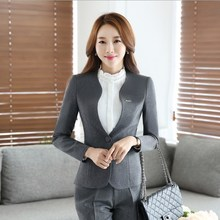Women Pants Suits Slim Work Wear Office Outfits Ladies Long Sleeve Blazer Pants Set Costumes For Women Trouser Suit Black Gray