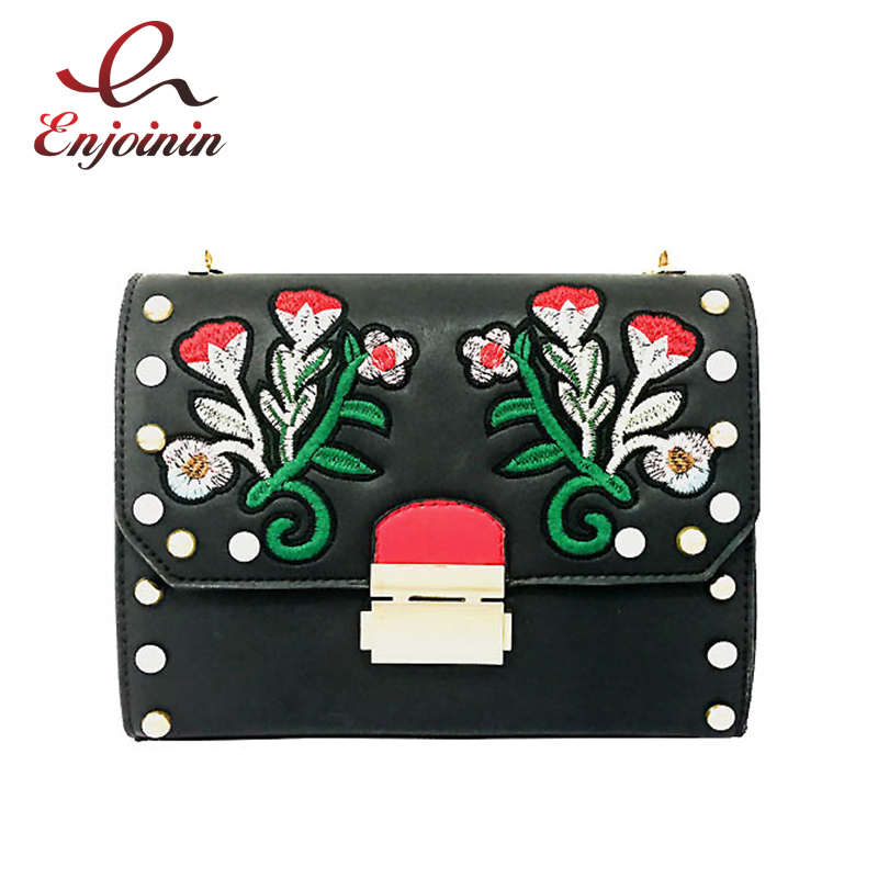 Fashion rivet embroidery red flower metal buckle female chain purse shoulder bag handbag crossbody messenger bag flap 2 colors  new arrival fashion color rivet metal decoration female totes shoulder bag handbag women s crossbody messenger bag 2 colors