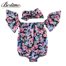 Summer Off Shoulder Floral Ruffle Sleeve Baby Romper+Head Band