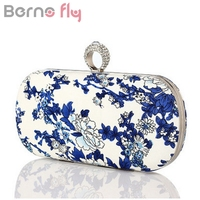Berno Fly Blue And White Porcelain Print Evening Bags For Women Small Purse Chain Finger Ring