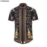 Short Sleeve 3D Printed Shirt Men Fashion Summer Camisa Masculina Social Slim Blouse Shirts Clothing Tops