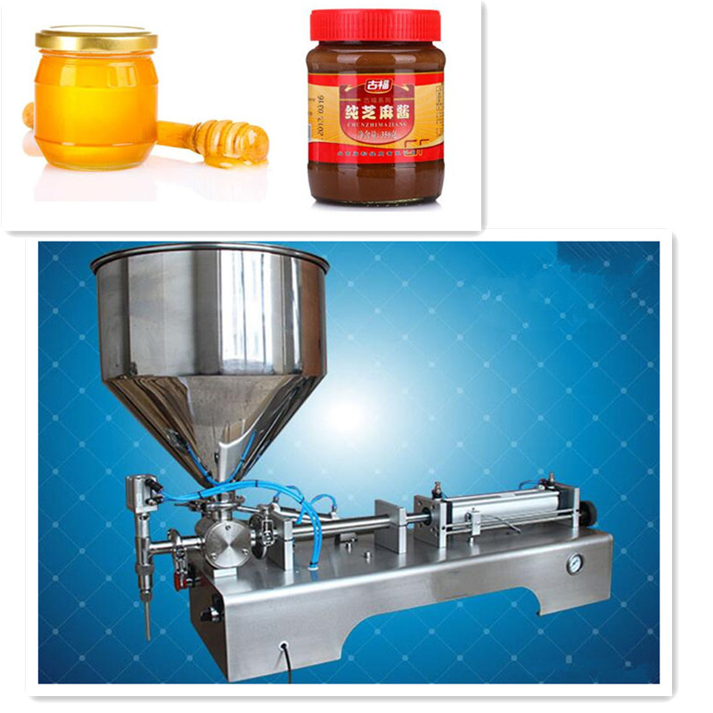 220V Commercial Stainless Steel Semi-automatic Peanut Butter Chili Sauce Filling Machine Jam Filling Machine 5-10 Bottles/Min  double hopper stainless steel semi automatic food chemical particle filling machine