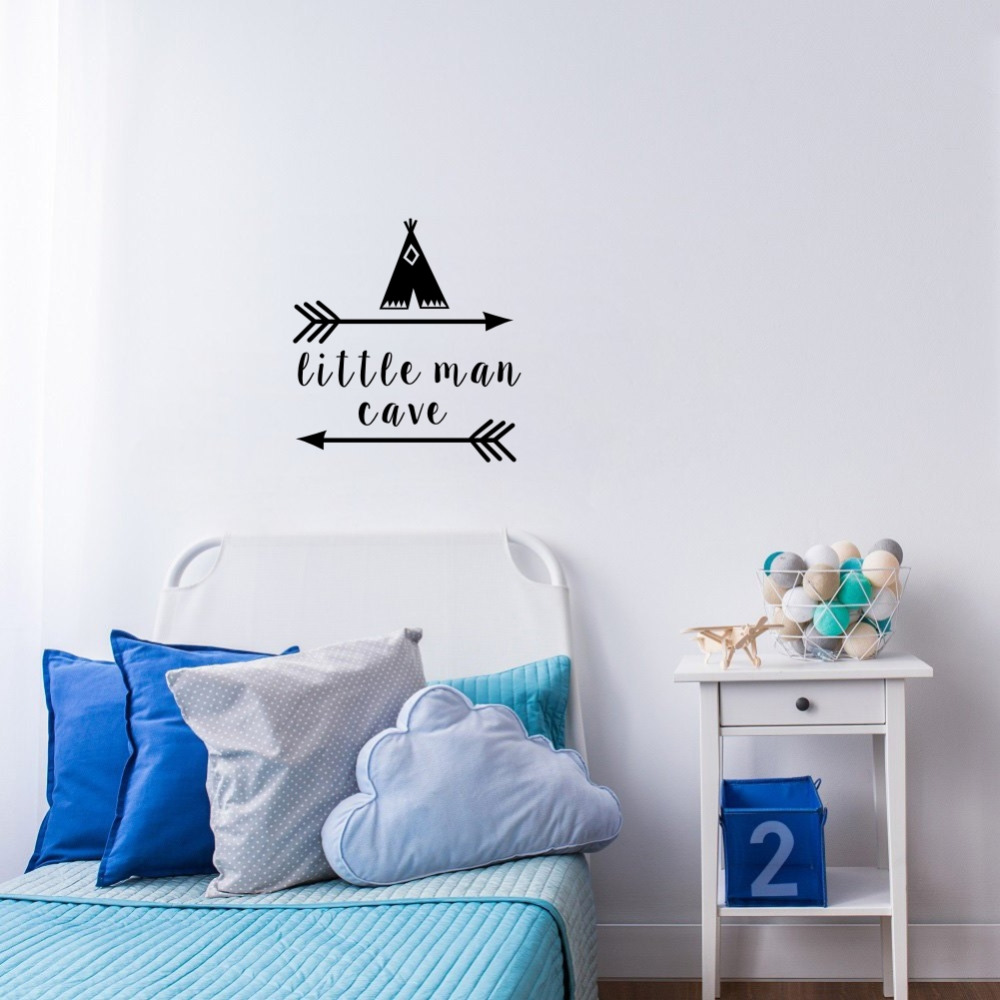 Little Man Cave Wall Decals Quote Words Nursery Boys Room Wall Decor Stickers 1