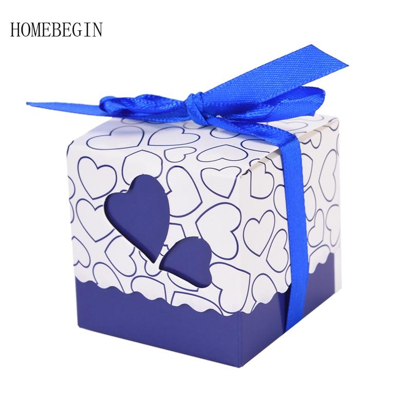 Homebegin 10 шт. сердце любовь лазерная резка коробка конфет Baby Shower Подарочная коробка с лентой Свадебные подарки Свадебные украшения вечеринок