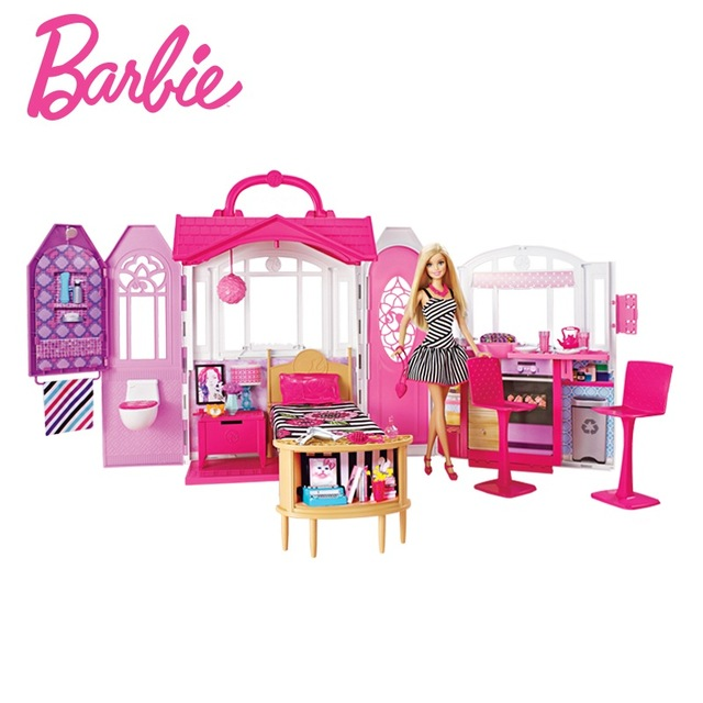 Barbie Shiny Holiday Home Doll House Furniture Miniatures Dollhouse Kit Cute Room Baby Girl Toys Poppenhuis Casa de Boneca CFB65 1 12 dollhouse miniatures furniture re ment refrigerator hearth integral kitchen lampblack machine
