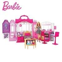 Original Barbie Home Doll House Furniture Miniatures Dollhouse Kit Cute Room Baby Girl Toys Poppenhuis Casa de Boneca CFB65