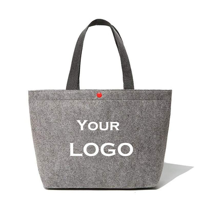 wholesale 500pcs/lot recycle Wool Felt Fabric reusable shopping bags customized printing company logo gift boutique eco bags ads