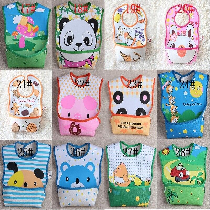 Детской одежды, горячая Распродажа брендовые Детские нагрудники из ПВХ, 28 дизайнов