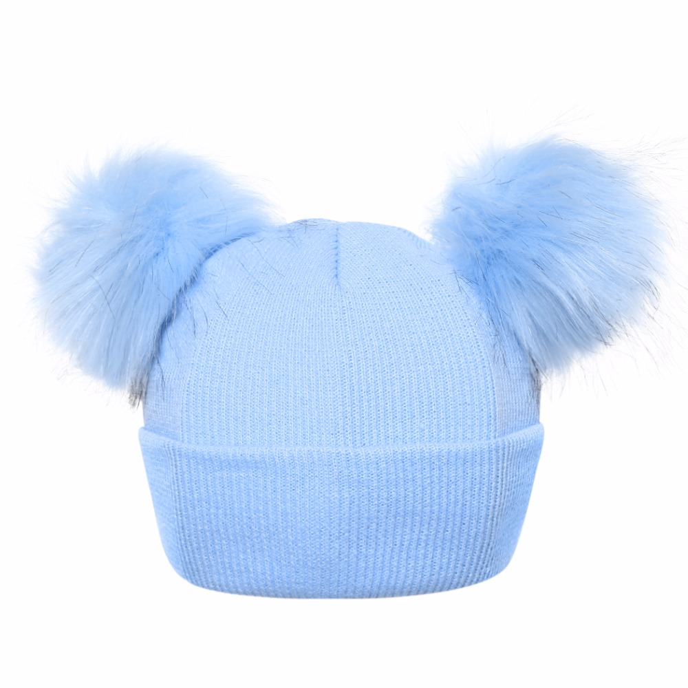 Winter Baby Hats 2018 Antumn Girls Boys Knitted Hat for Kid Fur Two Pompom Ball Cute kids Caps For Baby Girls Warm Soft Cap doubchow adults womens mens teenages kids boys girls cartoon animal hats cute brown bear plush winter warm cap with paws gloves page 7