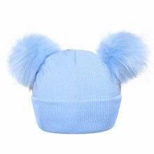 Moderní zimní čepice pro miminka se dvěma bambulkami. Winter Baby font b  Hats b font 2018 Antumn Girls Boys font b Knitted b font 950cb594c1