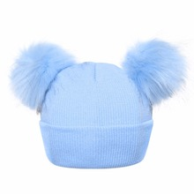 Winter Baby Hats 2018 Antumn Girls Boys Knitted Hat for Kid Fur Two Pompom Ball Cute kids Caps For Baby Girls Warm Soft Cap
