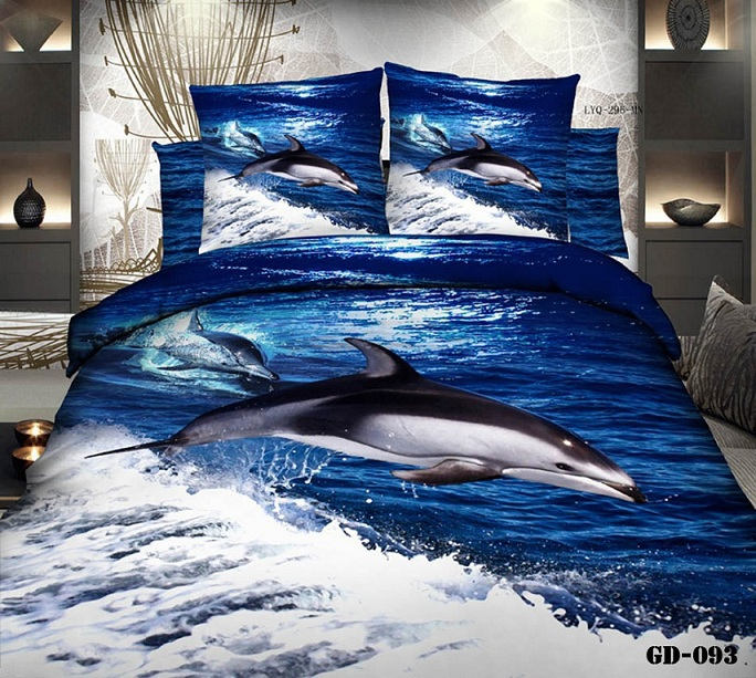3d dolphin blue ocean california king bedding sets quilt duvet cover bedspread fitted bed designer sheets
