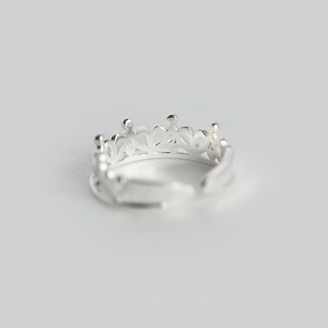 100% 925 Sterling Silver Princess Crown Cocktail Ring Sizable 5 6 7 4