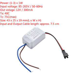 Electronic Transformer LED Power Supply Driver Adapter 3X1W Simple AC 85V-265V To DC 2V-12V 300mA LED Strip Driver