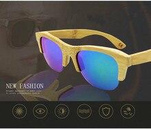 Oculos Polarizados Masculino Men's and Women's Unisex Bamboo Wood Half Frame Polarized Aviator Sunglasses