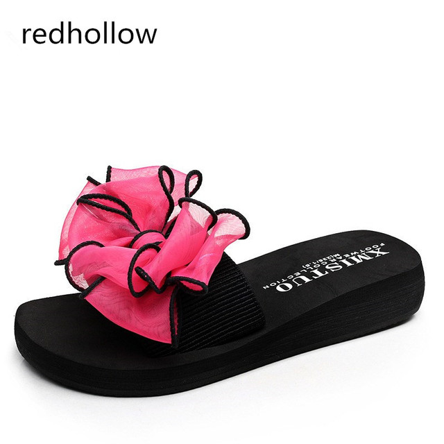 a196b76188f233 Summer Woman Shoes Fashion Bowtie Platform Bath Slippers Wedge Beach Flip  Flops High Heel Slippers for Women Lady Shoes Comfort
