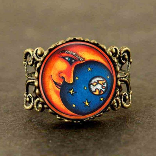 Qiyufang black Heirs of the Sun Dark Souls apollo god bronze silver Woman Man adjustable ring vintage doctor who 1pcs/lot kpop