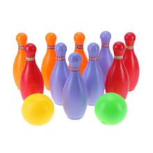 Colorful Plastic Children Bowling Ball Toys Set Sports Kids Ability Toys Indoor Outdoor Educational Toys Gift(China)