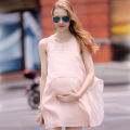 2016 Summer New Chiffon Maternity Dresses Sleeveless Fashion Big Size Round Neck Dress Clothes For Pregnant Women