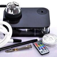 Mettle Acrylic Shisha Hookah With LED Light black box Chicha Bowl Hose Charcoal Holder Metal Sisha Narguile Pipes Accessories