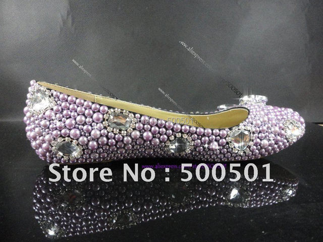 Purple FLAT SOLE WOMENS WEDDING SHOES sparkly CRYSTAL & PEARL ...