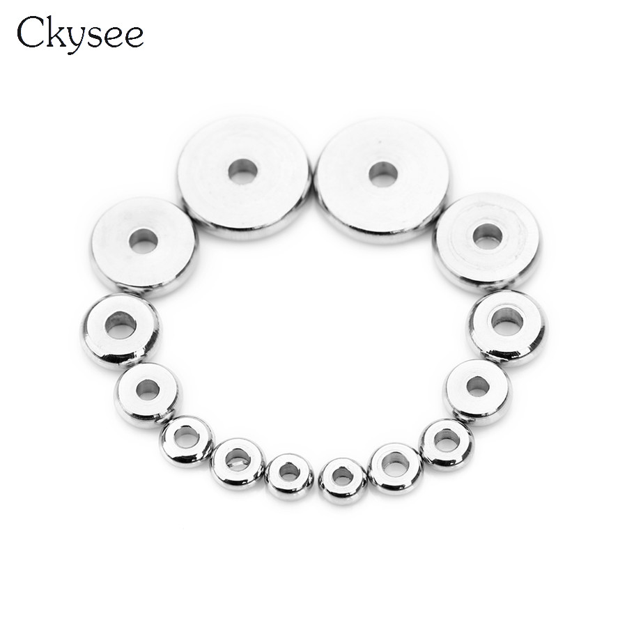 20pcs Multi-color 304 Stainless Steel Rondelle Beads Loose Spacer Beading 6~8mm
