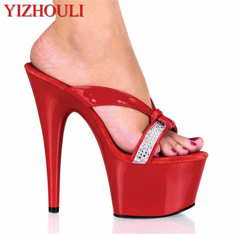 c7c085000 17 سنتيمتر منصة صندل مع حجر الراين الأشرطة 7 بوصة الأزياء المتعرية أفريل  لافين مثل مثير أحذية حزب
