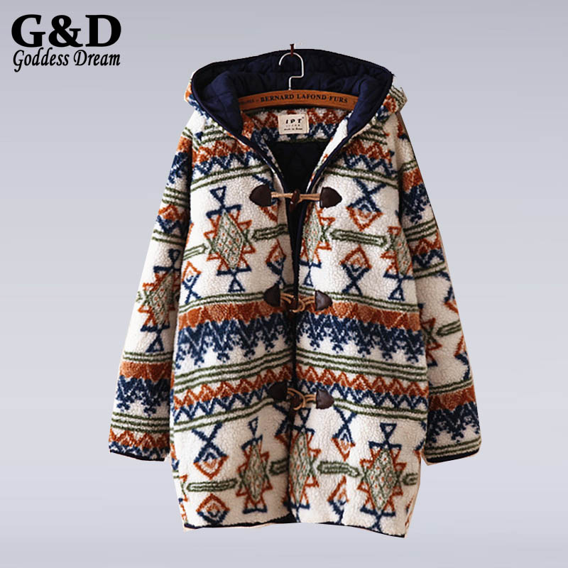 ФОТО Winter Jacket Women 2015 New Forest Ethnic Horns Buckle Coat Female Loose Long-sleeved Cashmere Hooded Warm Cotton Jacket JD354