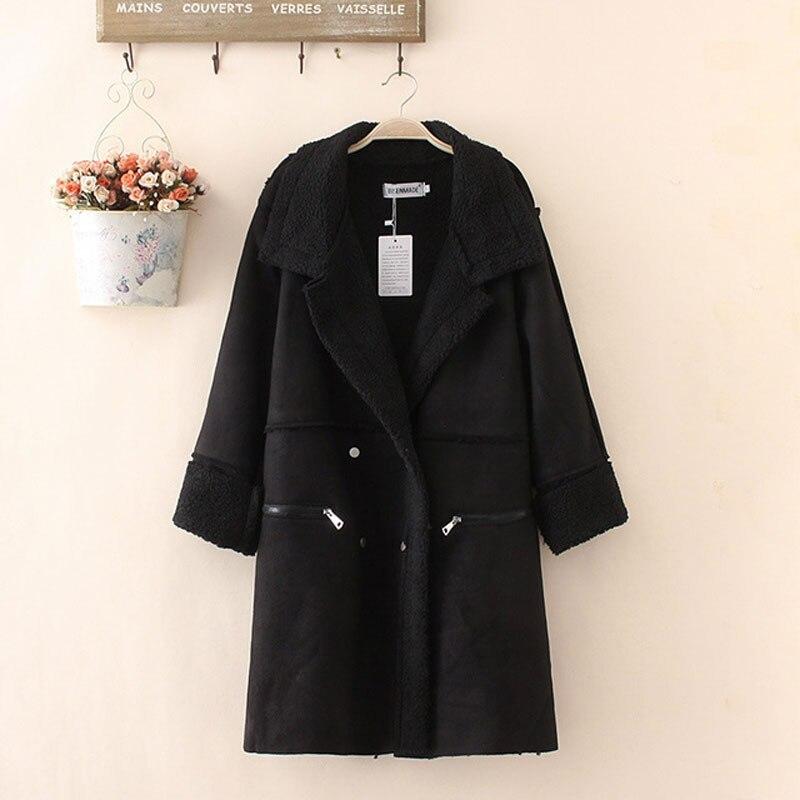 HEE GRAND Winter Coat Women Shearling Coats Faux Suede Leather Jackets Plus Size 4XL Loose Outwear Faux Lamb Wool Coat WWC164