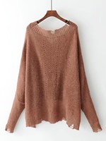 Women New Plunge Neckline Dip Hem Ripped Knitwear Fashion V-neck Sheer Long Sleeve Sweater