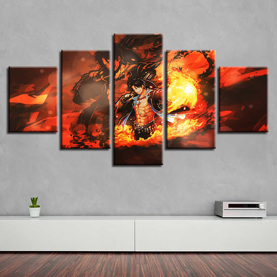 HD Canvas Printed Painting Wall Art Modular Poster 5 Panel Animation One Piece Character Pictures Home Decor Living Room Frame