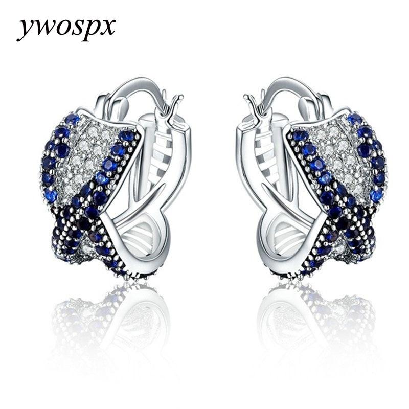 YWOSPX Elegant Crystal Zircon Brincos Silver Color Hoop Earrings for Women Jewelry Wedding Engagement Statement Cross Earing Y20