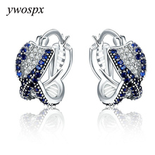 YWOSPX Elegant Crystal Zircon Brincos Silver Color Hoop Earrings for Women Jewelry Wedding Engagement Statement Cross Earing Y20