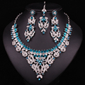 New  Indian Bridal Jewelry Set Crystal Statement Necklace Earring Forehead Hair Accessories Set Silver Plated Accessories Women