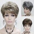 Очень Короткие Прически Для Пожилых Женщин синтетические Прямые волосы парик Парики бесплатная доставка