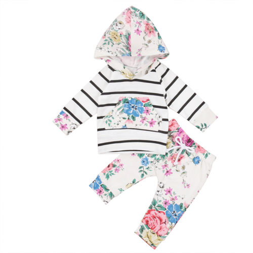 Infant Baby Girl Striped Hooded Tops Outerwear Floral Pants Outfits Set Clothes Toddler Newborn Girls Warm Hoodies Clothing Set newborn toddler kids baby boys girls outfits clothes t shirt tops hooded striped pants casual clothing 2pcs set baby boy girl